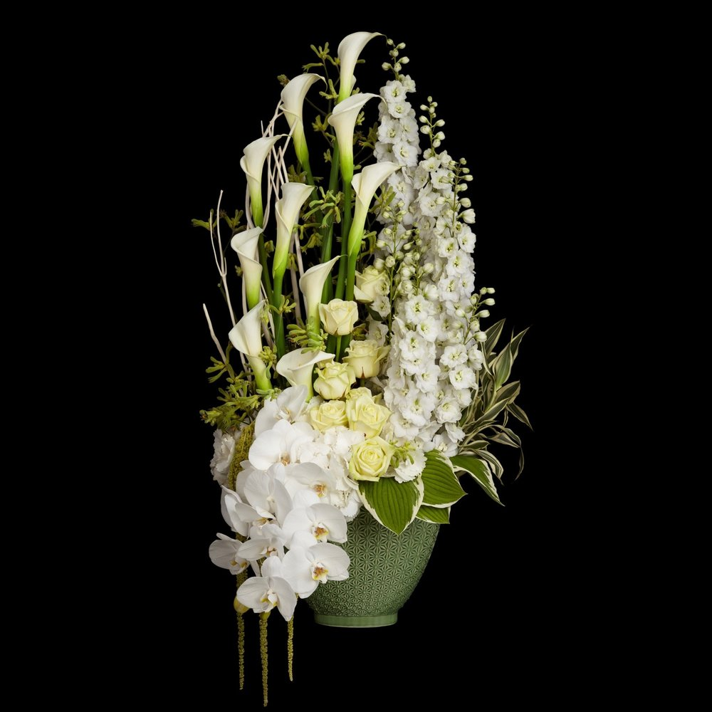 Ebury Tall Arrangement in white by Neill Strain Floral Couture