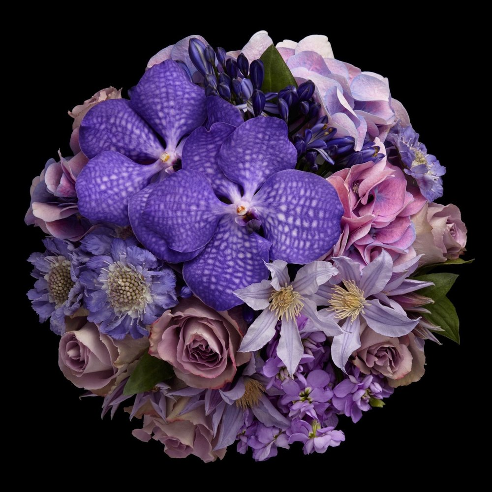 Cadogan Petite Couture arrangement in blue by Neill Strain Floral Couture