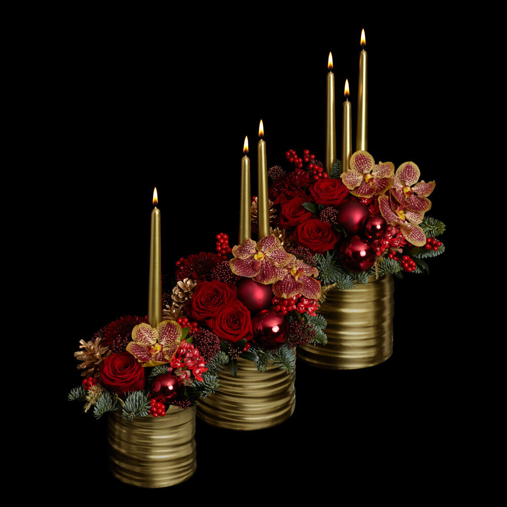 Christmas Flower Arrangement with candles