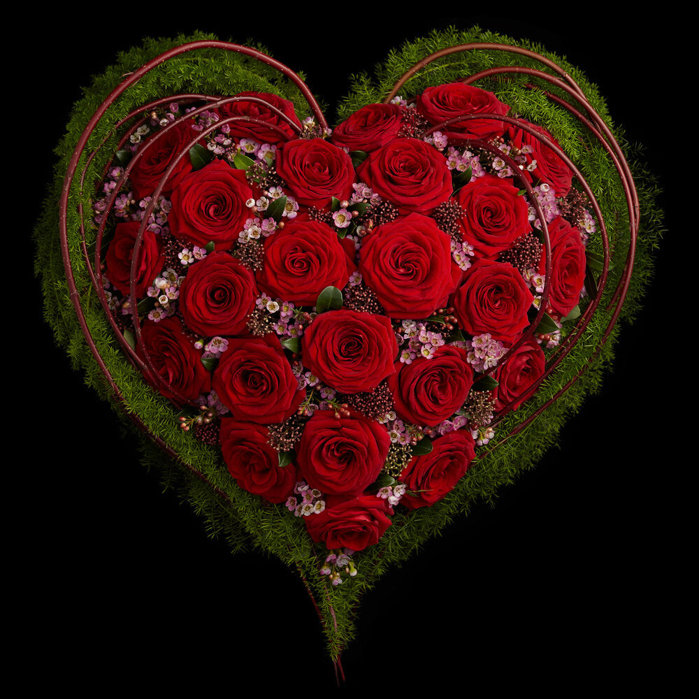 Valentine's Red Rose Heart by Neill Strain Floral Couture