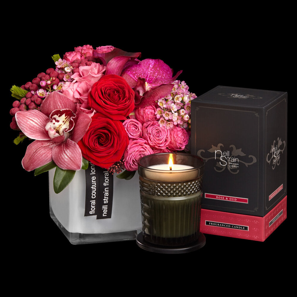 """Neill Strain Red Roses with """"Rose & Oud"""" Fragranced Candle"""