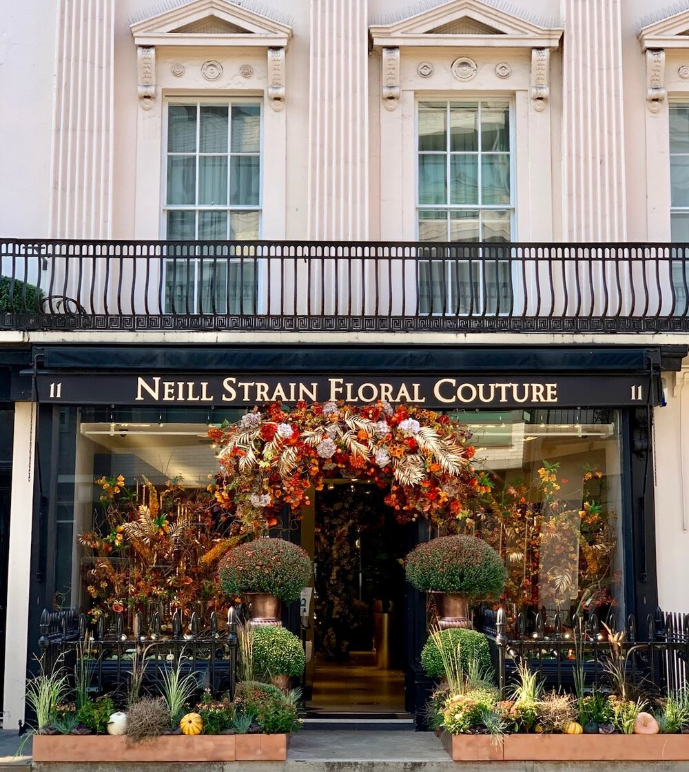 The new Autumn display at Neill Strain Floral Couture Belgravia