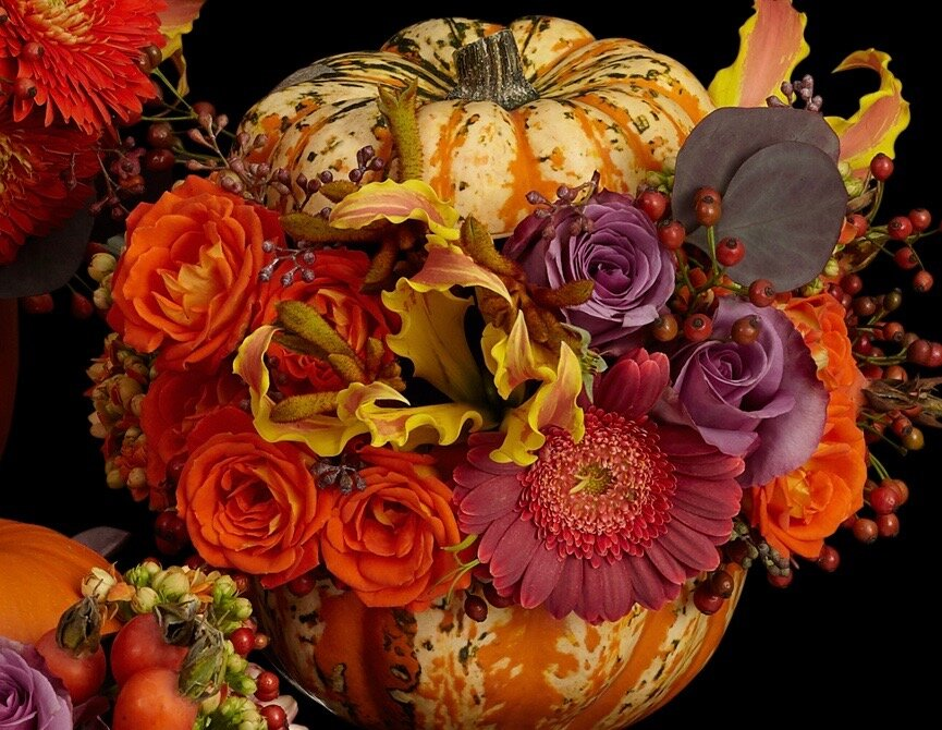 Floral decorations with Pumpkins and Gourds for Halloween and Thanksgiving
