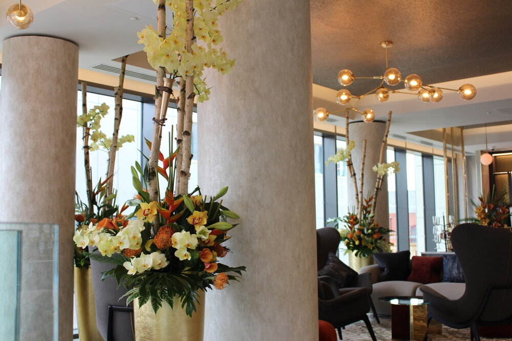 Almost 3 metre tall arrangements decorate the first floor bar for the Leicester Novotel launch party