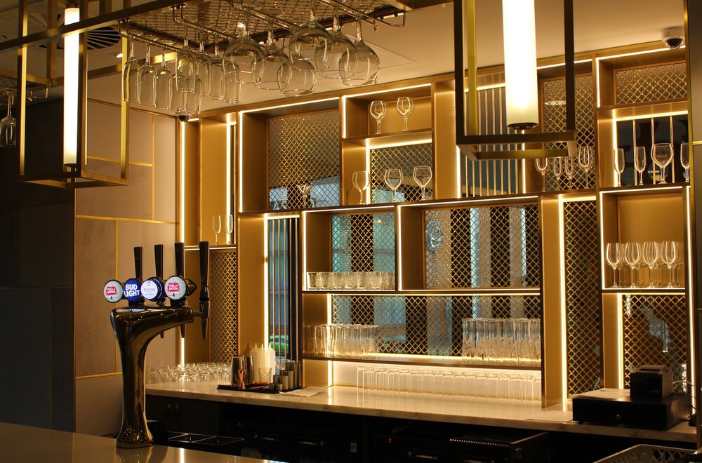 Details of the first floor bar at the Novotel Hotel in Leicester