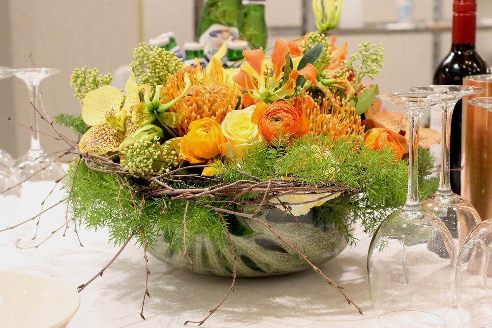 Spring table arrangement designed by Neill Strain Floral Couture