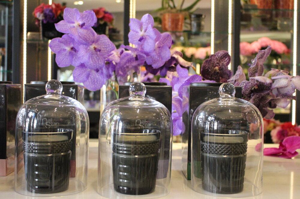 Neill Strain Floral Couture fragranced candles, poured in an elegant cut-crystal style glass vessel