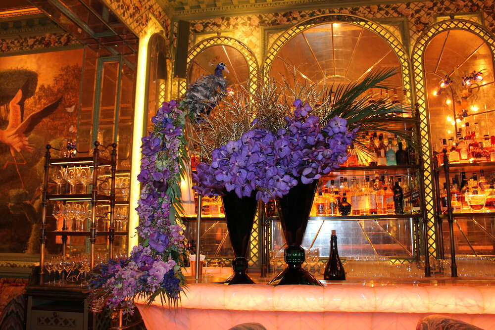 Floral creations by Neill Strain Floral Couture in the Rose Room at Annabel's