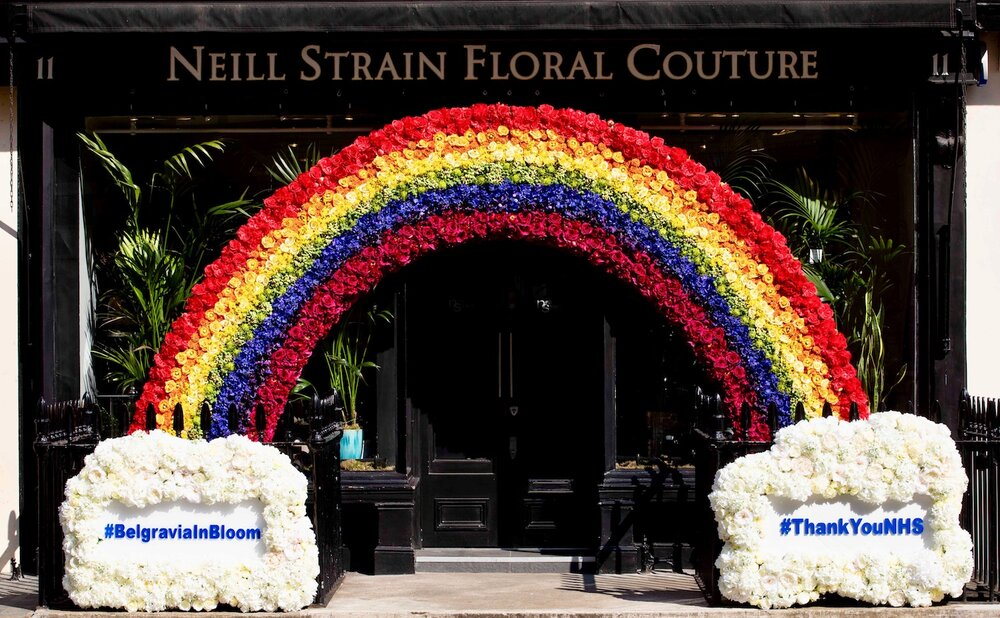 Belgravia In Bloom display created by Neill Strain Floral Couture dedicated to the NHS