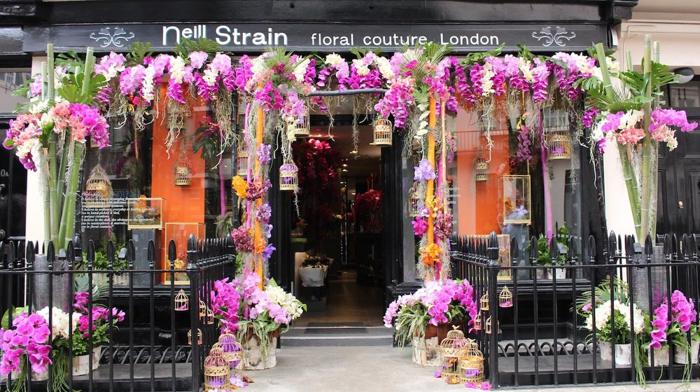 Neill Strain Floral Couture Belgravia boutique dressed with Orchids for RHS Chelsea Flower Show 2016