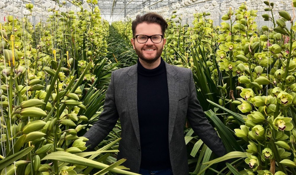 Neill Strain visiting a Cymbidium Orchid grower in Holland