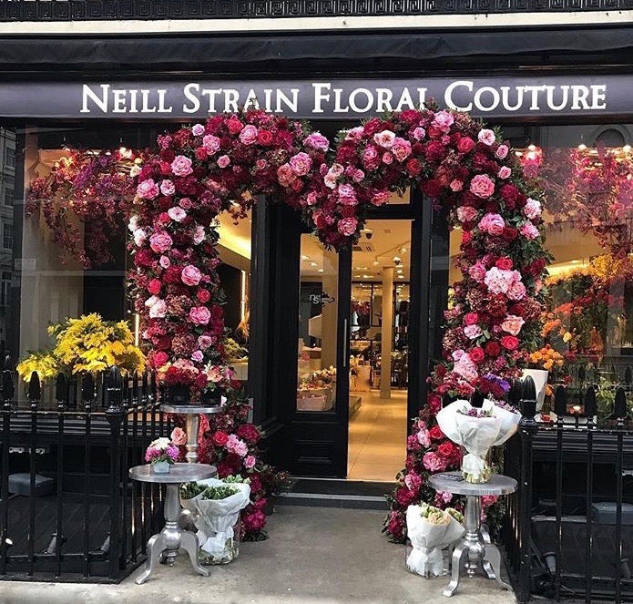 The Neill Strain Floral Couture boutique in Belgravia dressed for Valentine's Day