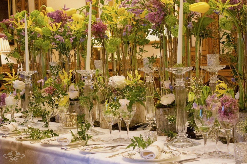 Luxury wedding table flowers created by Neill Strain Floral Couture at The Lanesborough