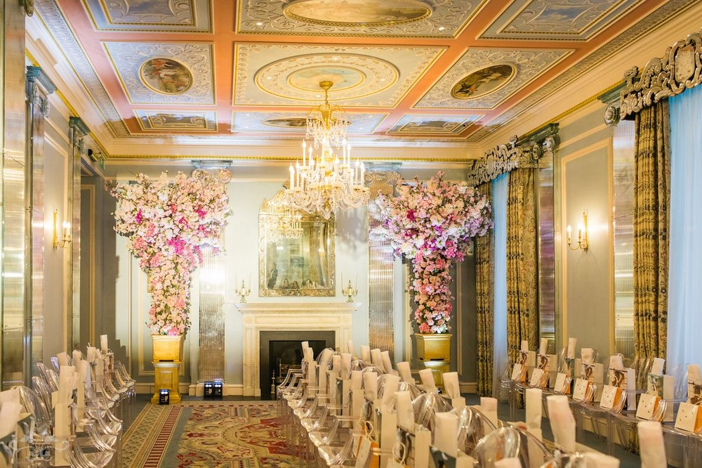 Spring floral designs by Neill Strain Floral Couture for Brides in Belgravia fashion show at The Lanesborough  Photos by Roberta Facchini