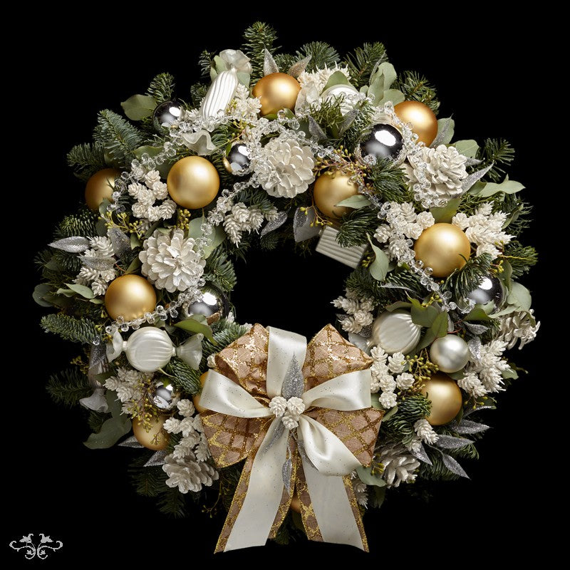 """Neill Strain Floral Couture luxury Christmas door wreath """"Noel"""" can be ordered  online"""