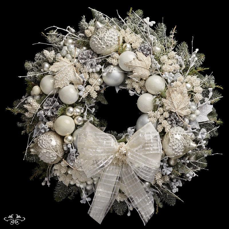 """Neill Strain Floral Couture Super Deluxe Wreath  """"Snowflake"""""""