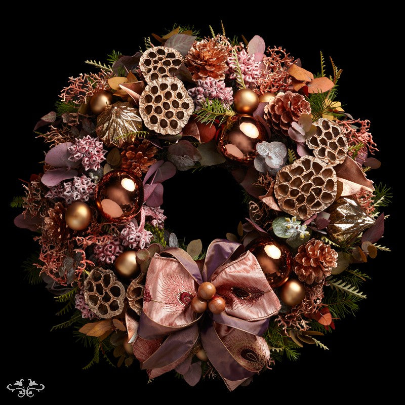 """Neill Strain Floral Couture Super Deluxe wreath  """"Christmas Coral"""""""
