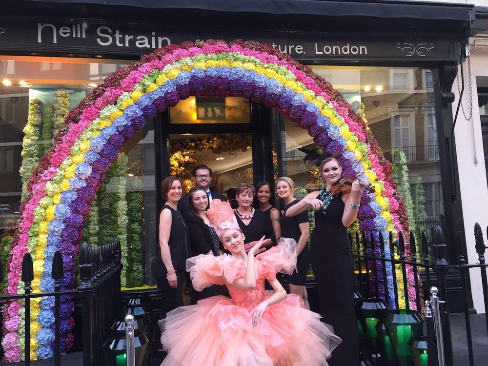 The Neill Strain Floral Couture team at the Belgravia In Bloom launch party.