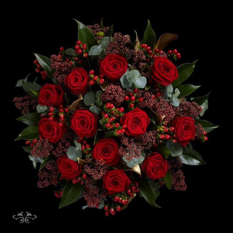 Hand-Tied bouquet of 12 Red Naomi Roses designed by Neill Strain Floral Couture, also available with 6 Roses
