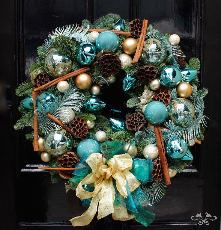 Luxuriously decorated door wreaths designed by Neill Strain Floral Couture