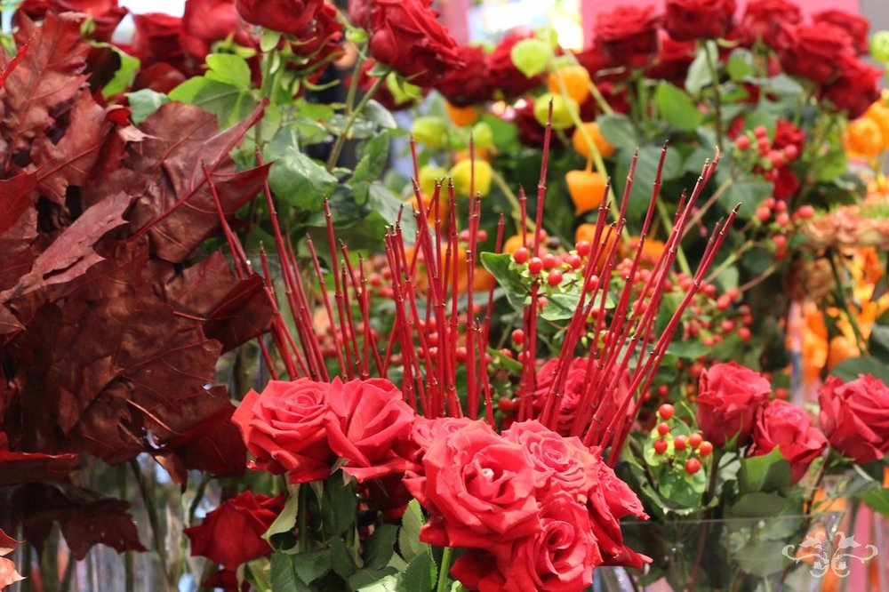 The Autumn flower display at Neill Strain Floral Couture's Belgravia boutique