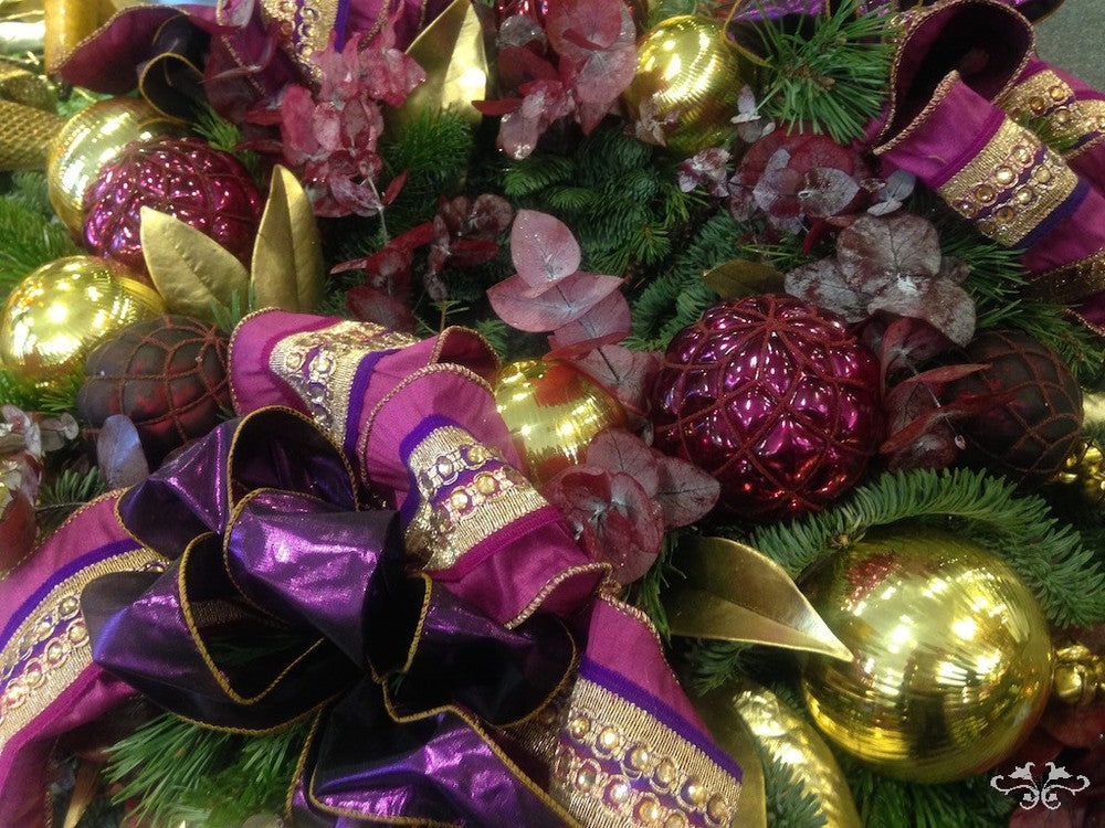 A lush magenta and gold with Scotch Pine and Eucolyptus