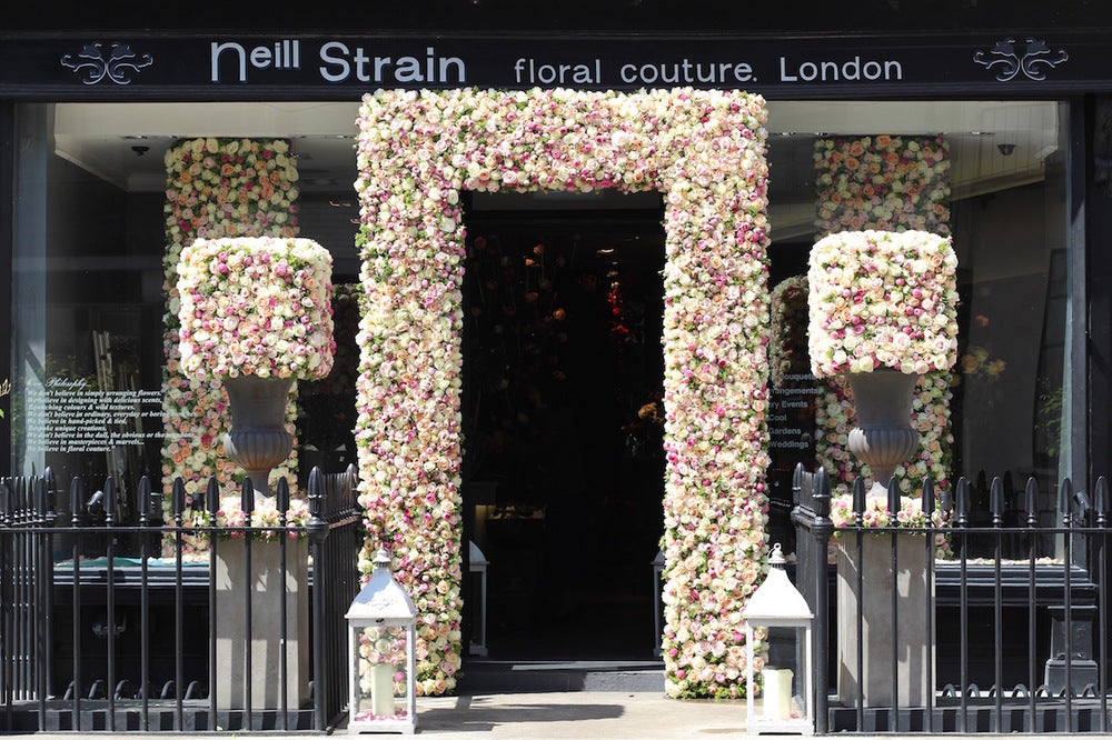 Floral installation in Belgravia at The Flower Lounge by Neill Strain Floral Couture