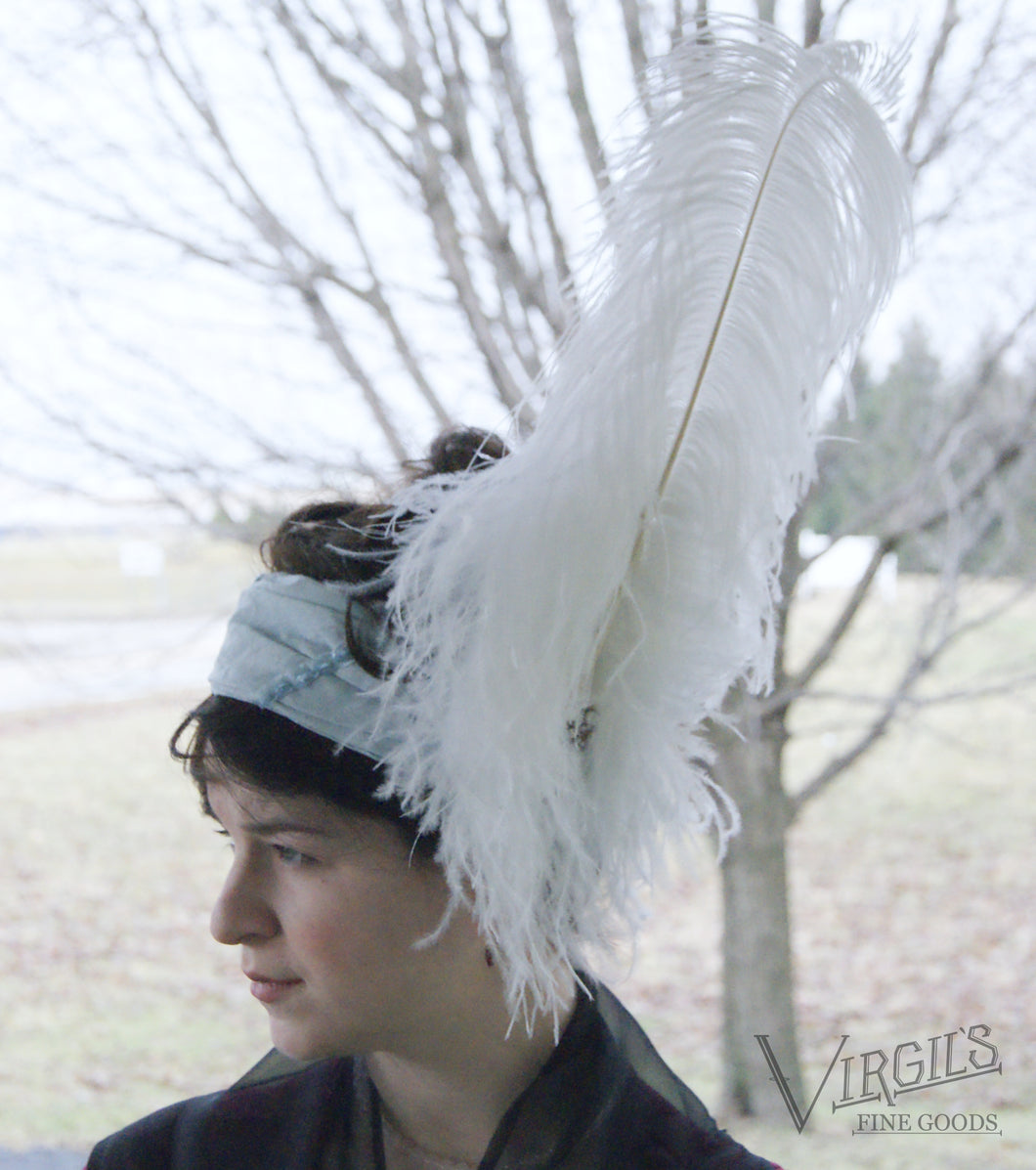 Light Blue Headwrap with White Plumes