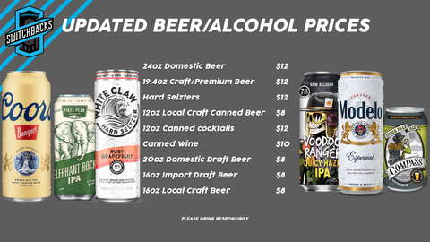 Alcoholic Beverage Prices at Weidner Field