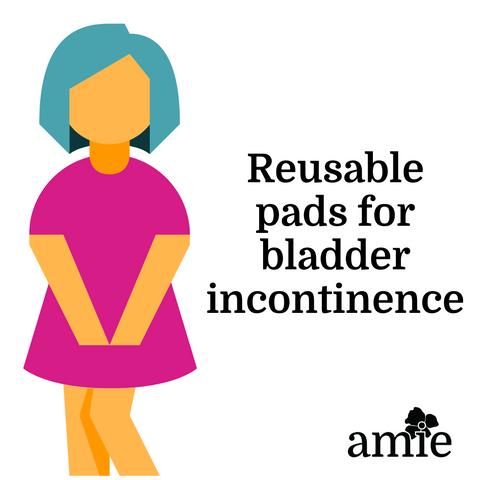 clipart woman with knees crossed blue hair pink dress reusable pads for bladder incontinence