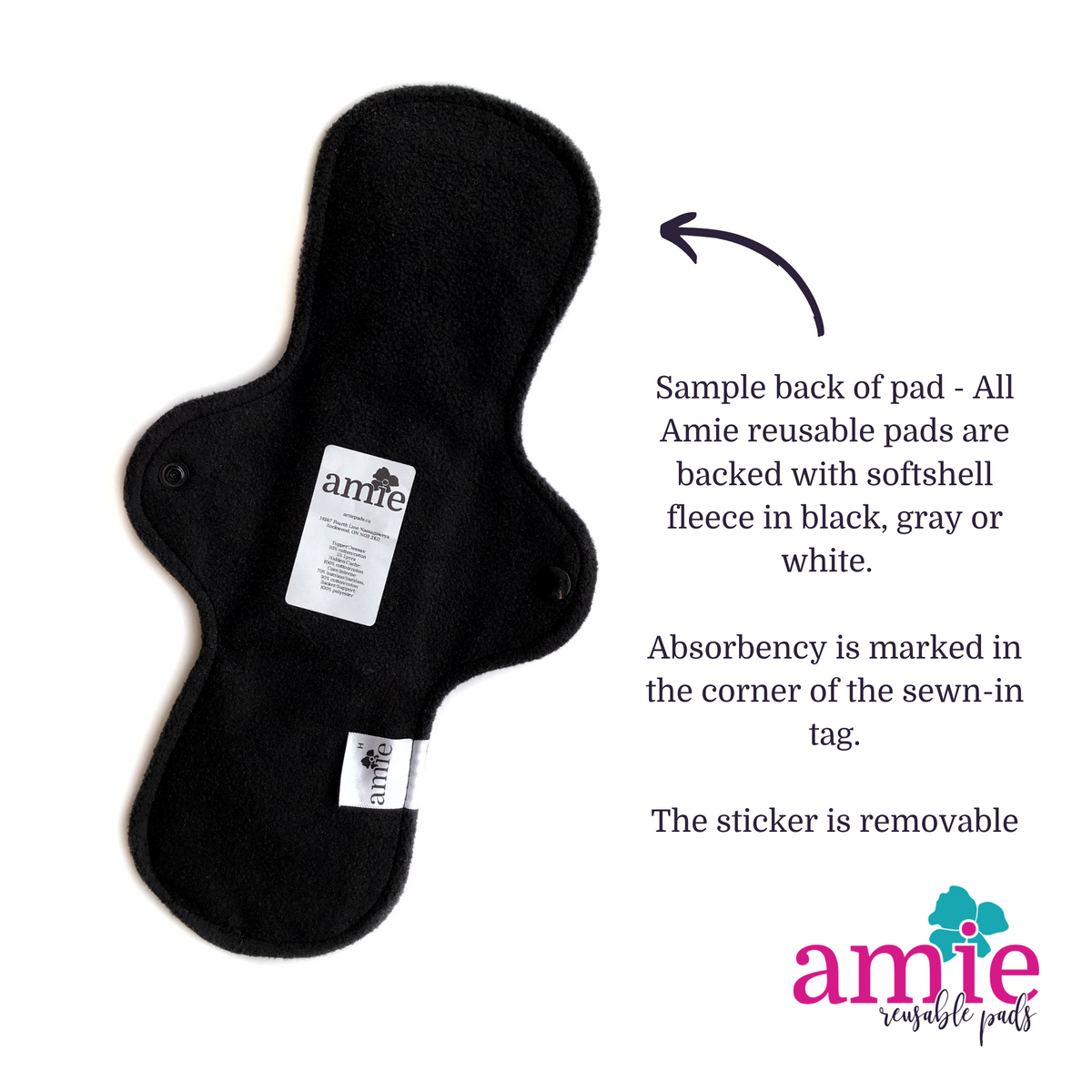 Sample back of an amie reusable pad showing softshell fleece, legally compliant removable sticker and label with absorbency marked