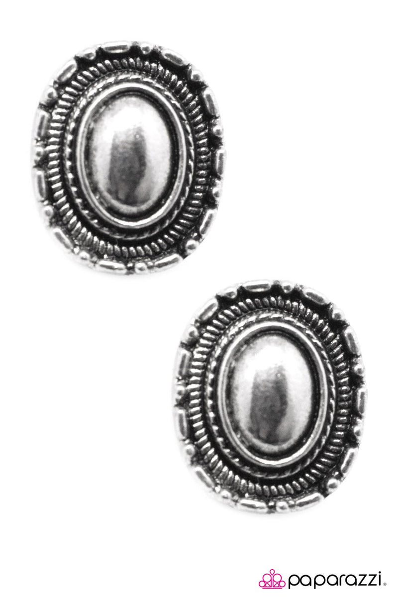 When in Machu Picchu - Silver Post Earrings - Paparazzi Accessories
