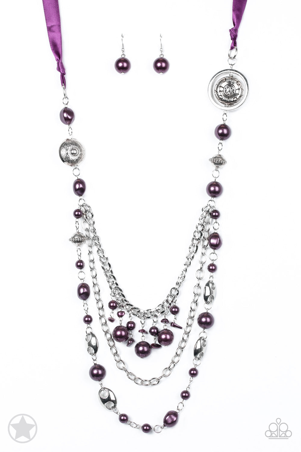 five-dollar-jewelry-purple-ribbon-with-purple-pearls-blockbuster--paparazzi-accessories