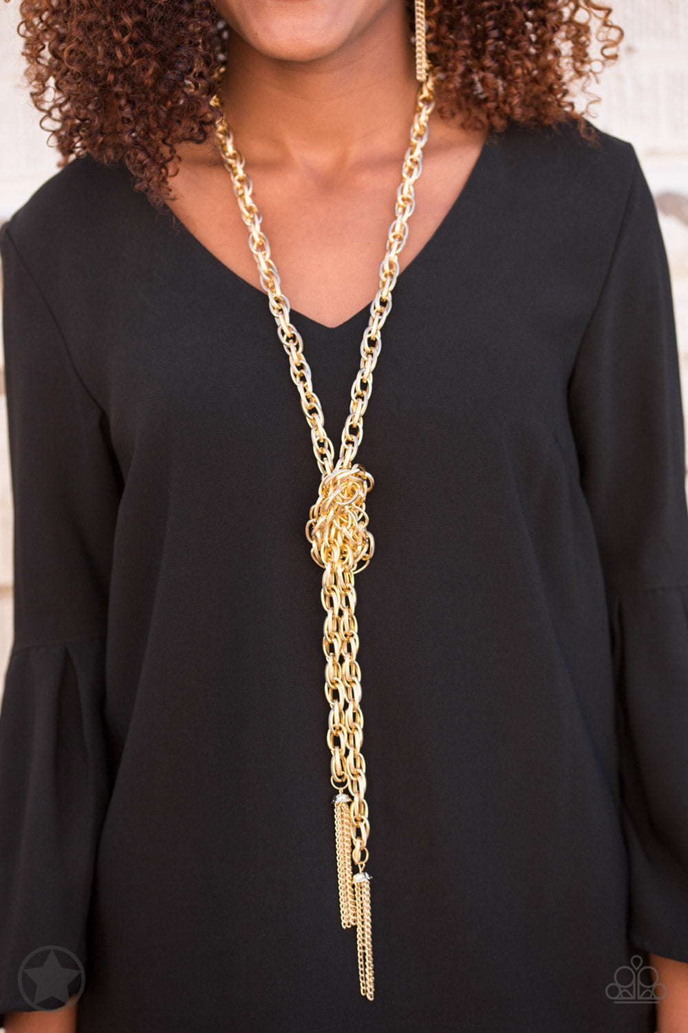 SCARFed for Attention - Gold Necklace - Paparazzi Accessories