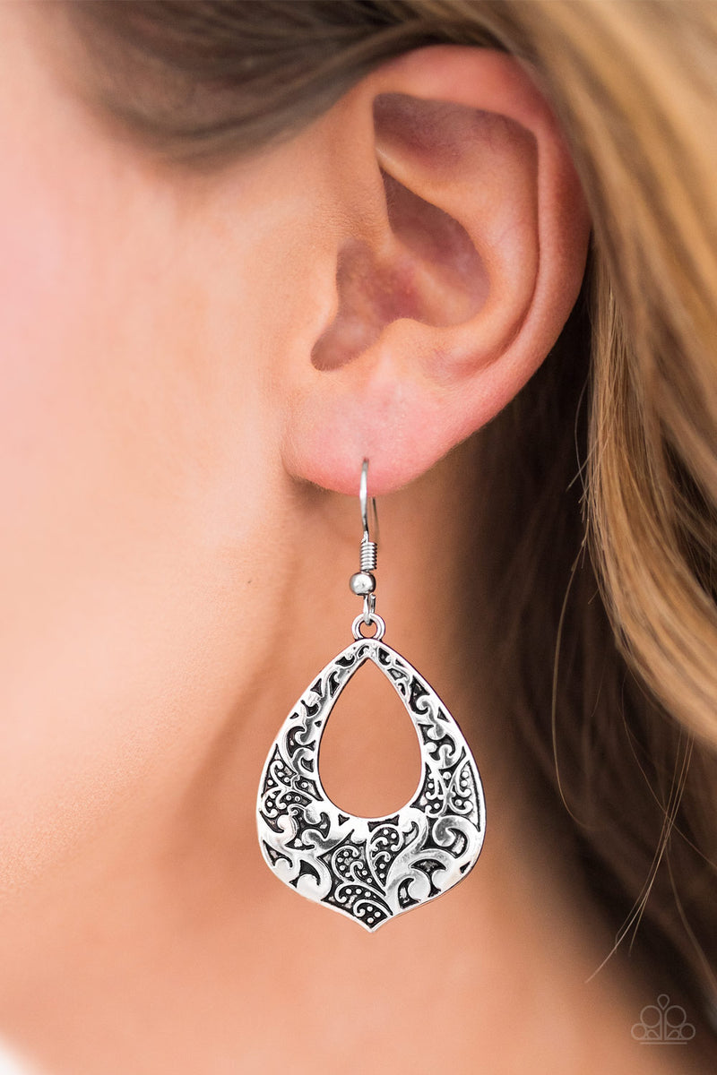 Ill Be VINE - Silver Earrings - Paparazzi Accessories
