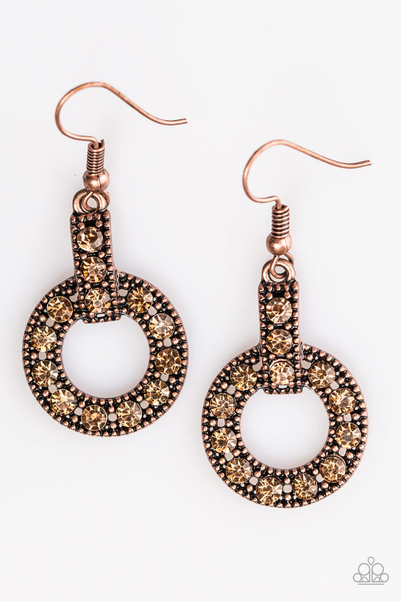 five-dollar-jewelry-midnight-ball-copper-earrings-paparazzi-accessories