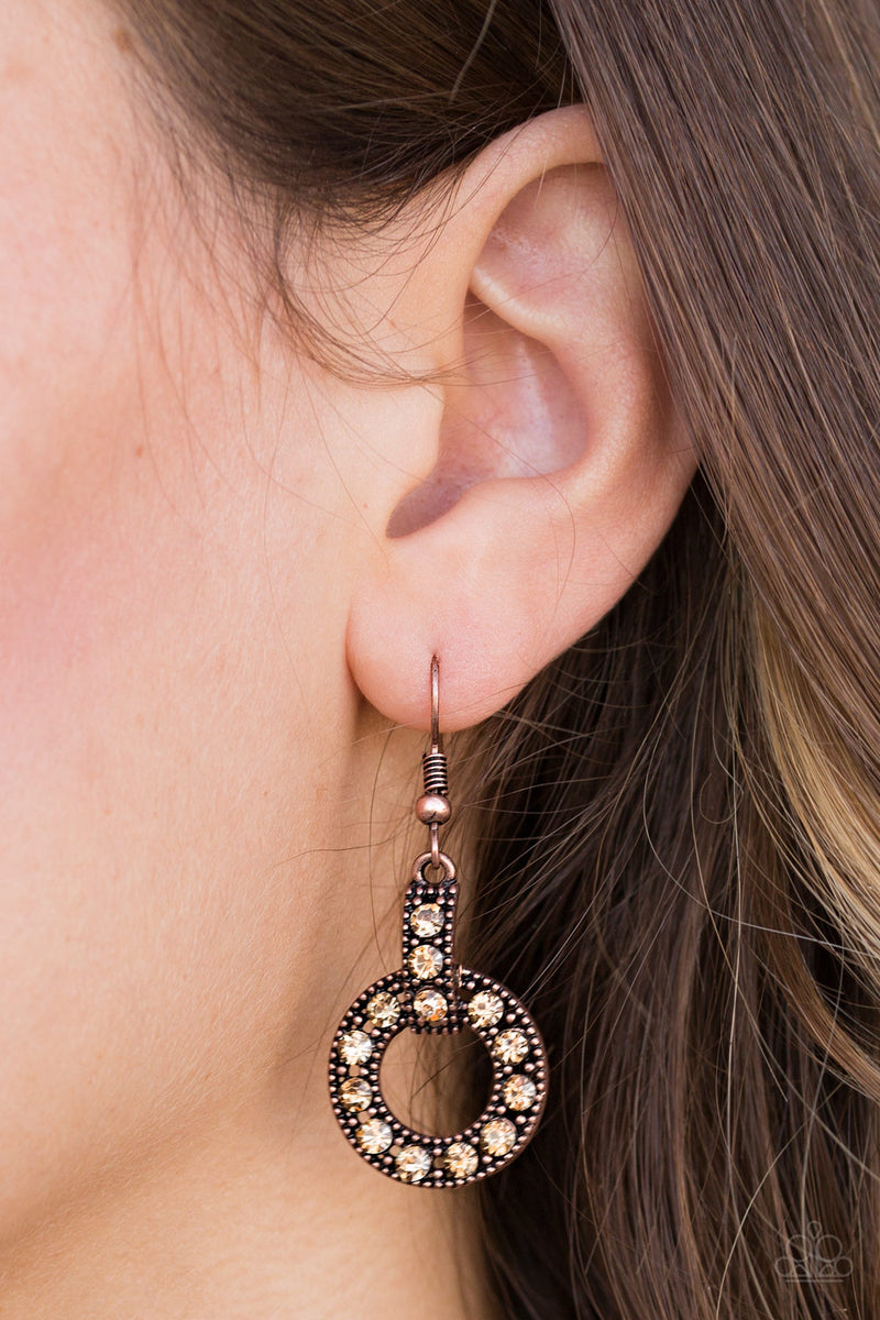 Midnight Ball - Copper Earrings - Paparazzi Accessories