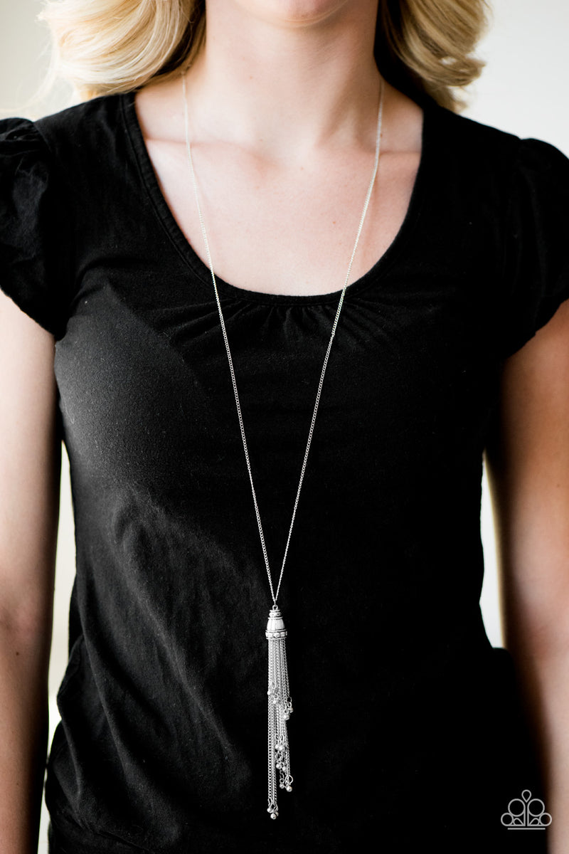 Talk About Tassel - Silver Necklace - Paparazzi Accessories