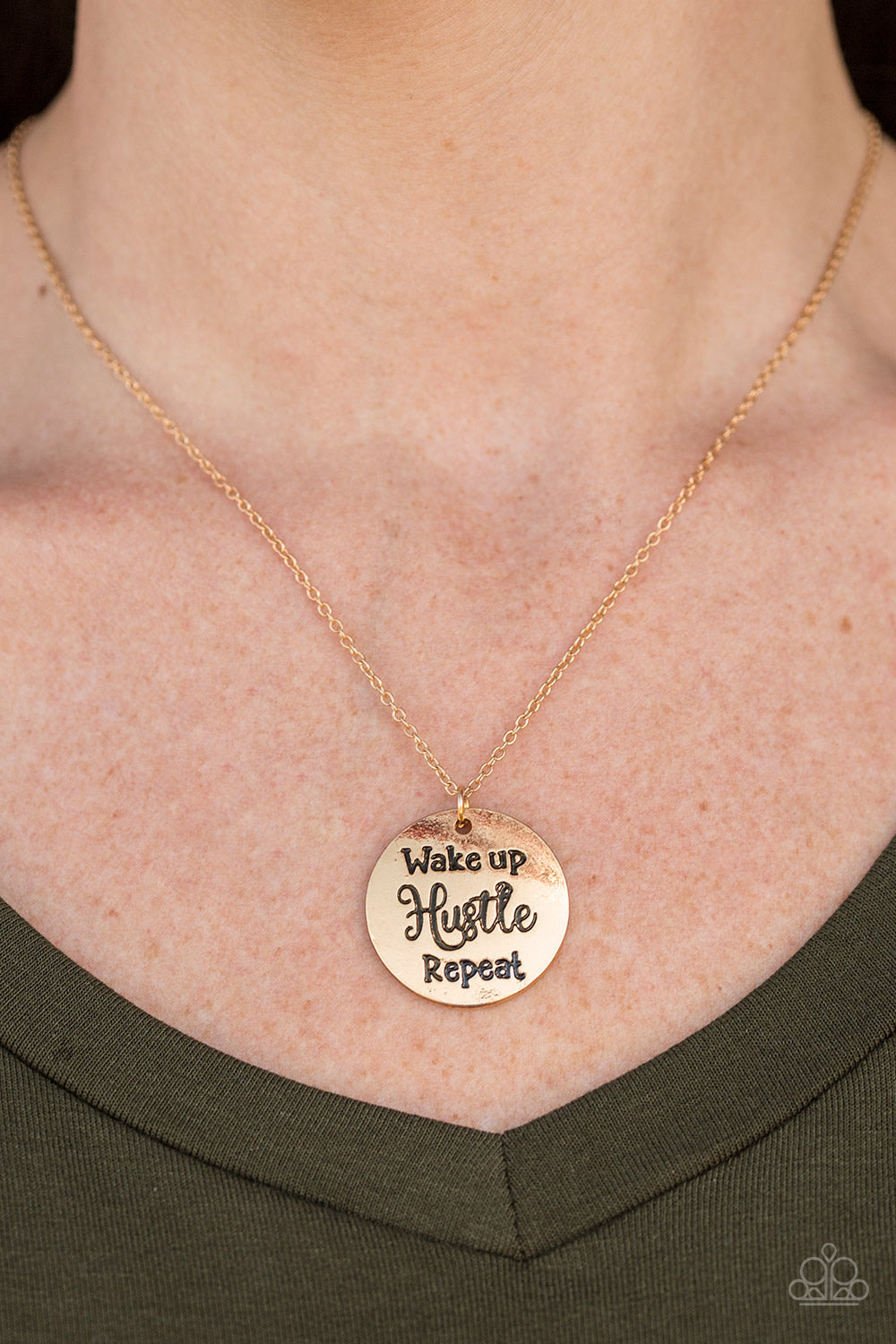 Hustle On Repeat - Gold Necklace - Paparazzi Accessories