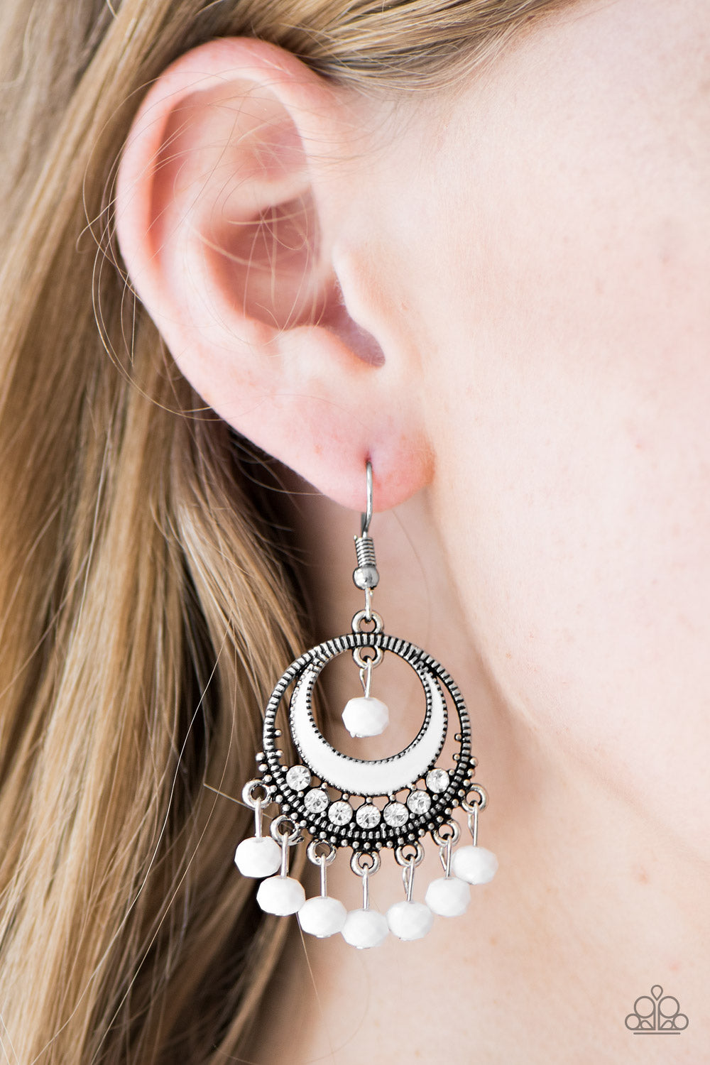 Meet Me At Midnight - White Earrings - Paparazzi Accessories
