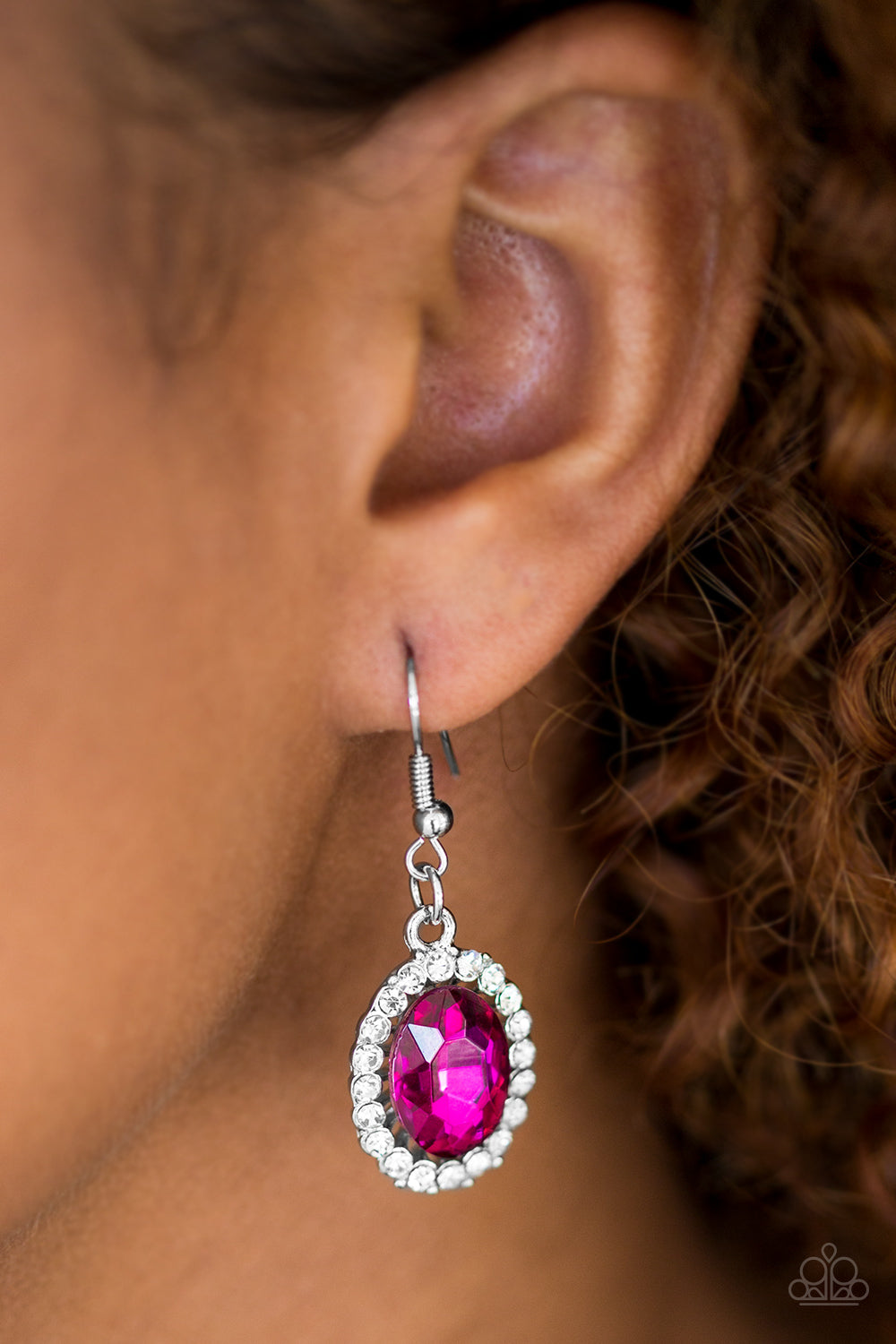 The FAME Of The Game - Pink Earrings - Paparazzi Accessories