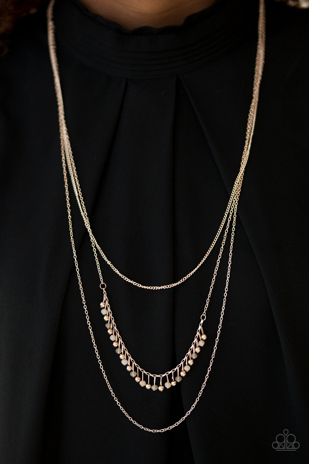Twinkly Troves - Rose Gold Necklace - Paparazzi Accessories