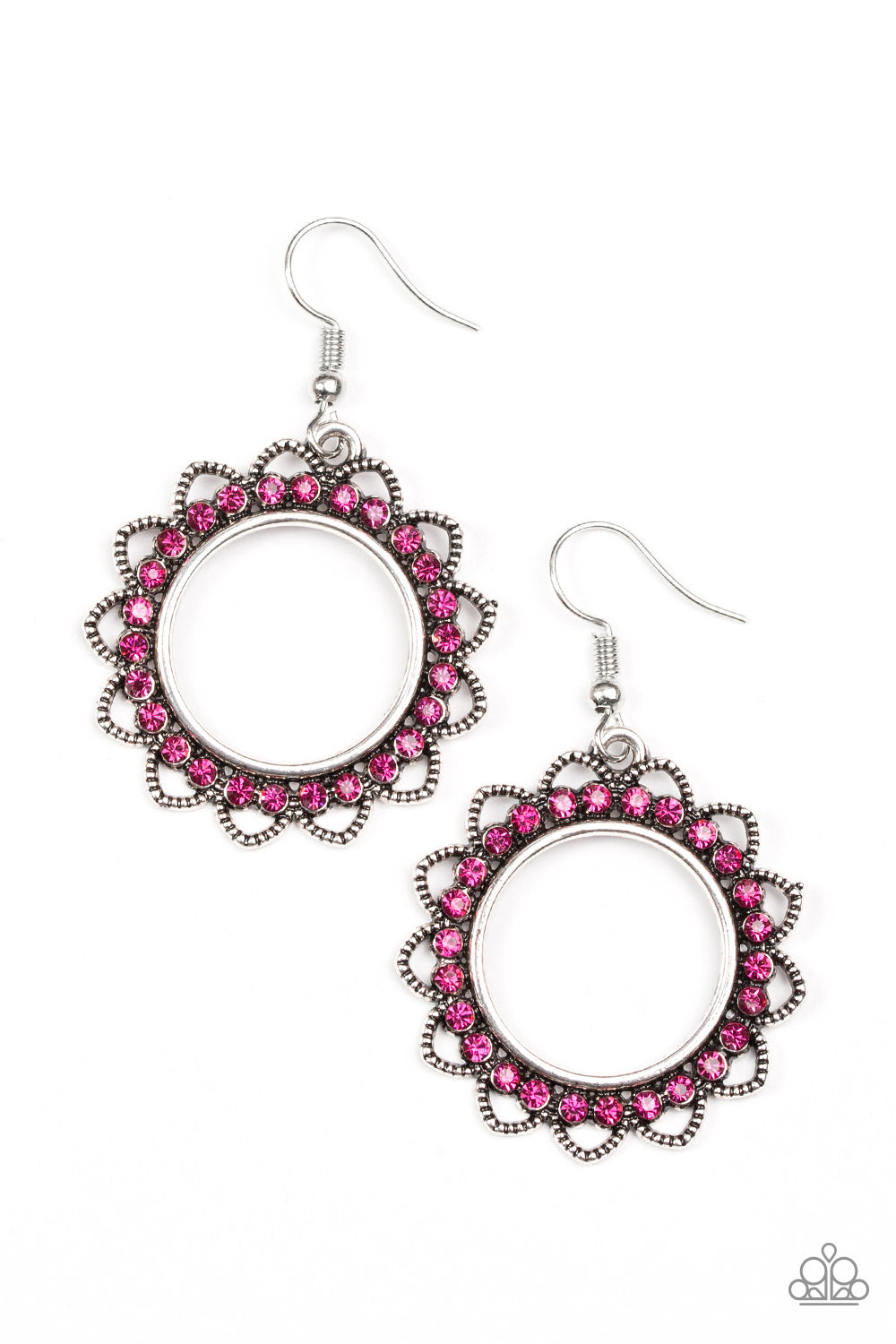 five-dollar-jewelry-bring-your-tambourine-pink-earrings-paparazzi-accessories