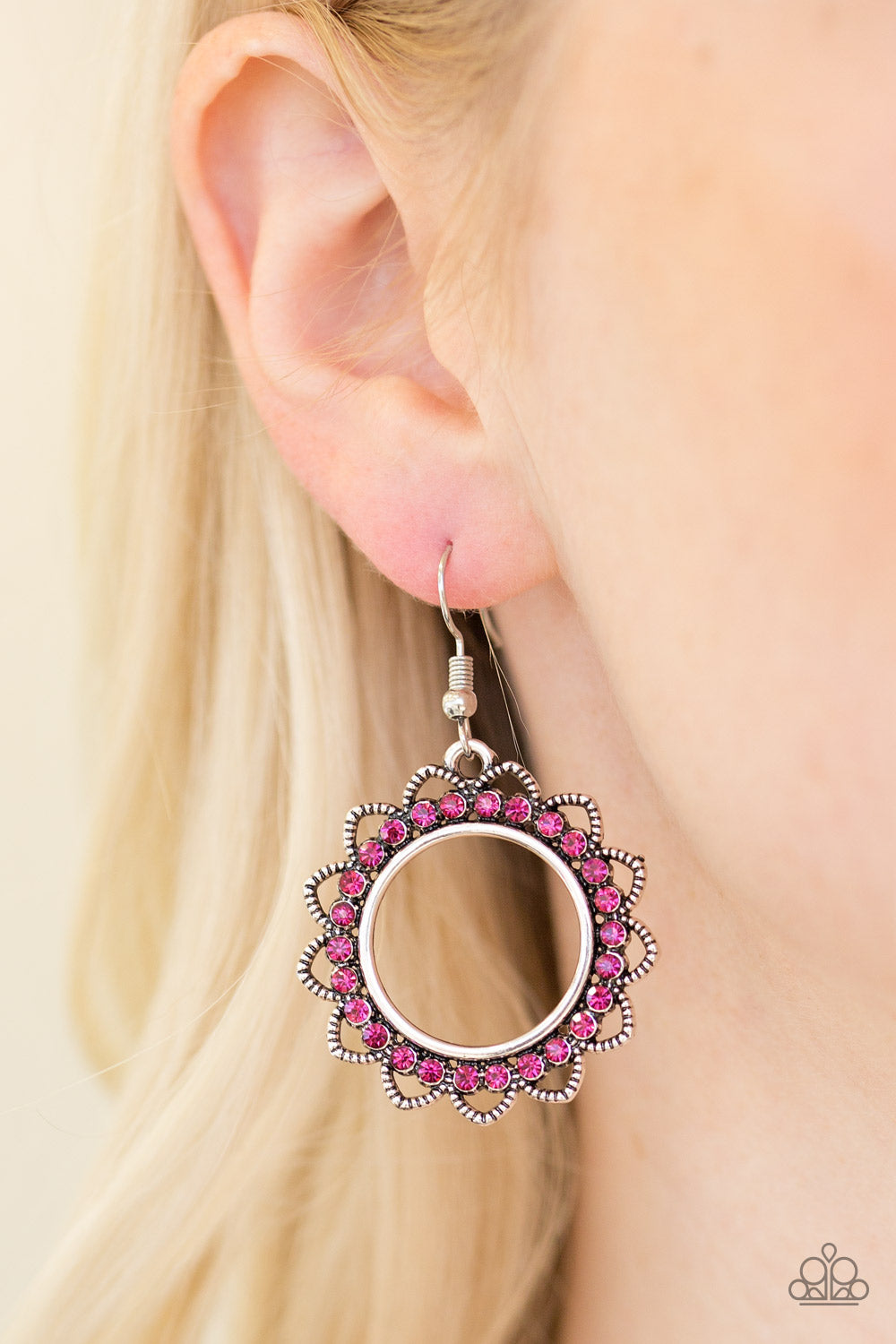 Bring Your Tambourine - Pink Earrings - Paparazzi Accessories