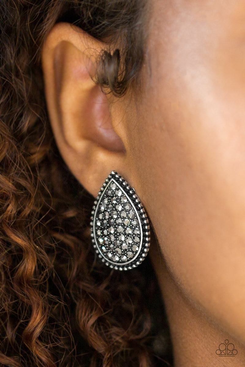A Run For Their Money - Silver Post Post Earrings - Paparazzi Accessories