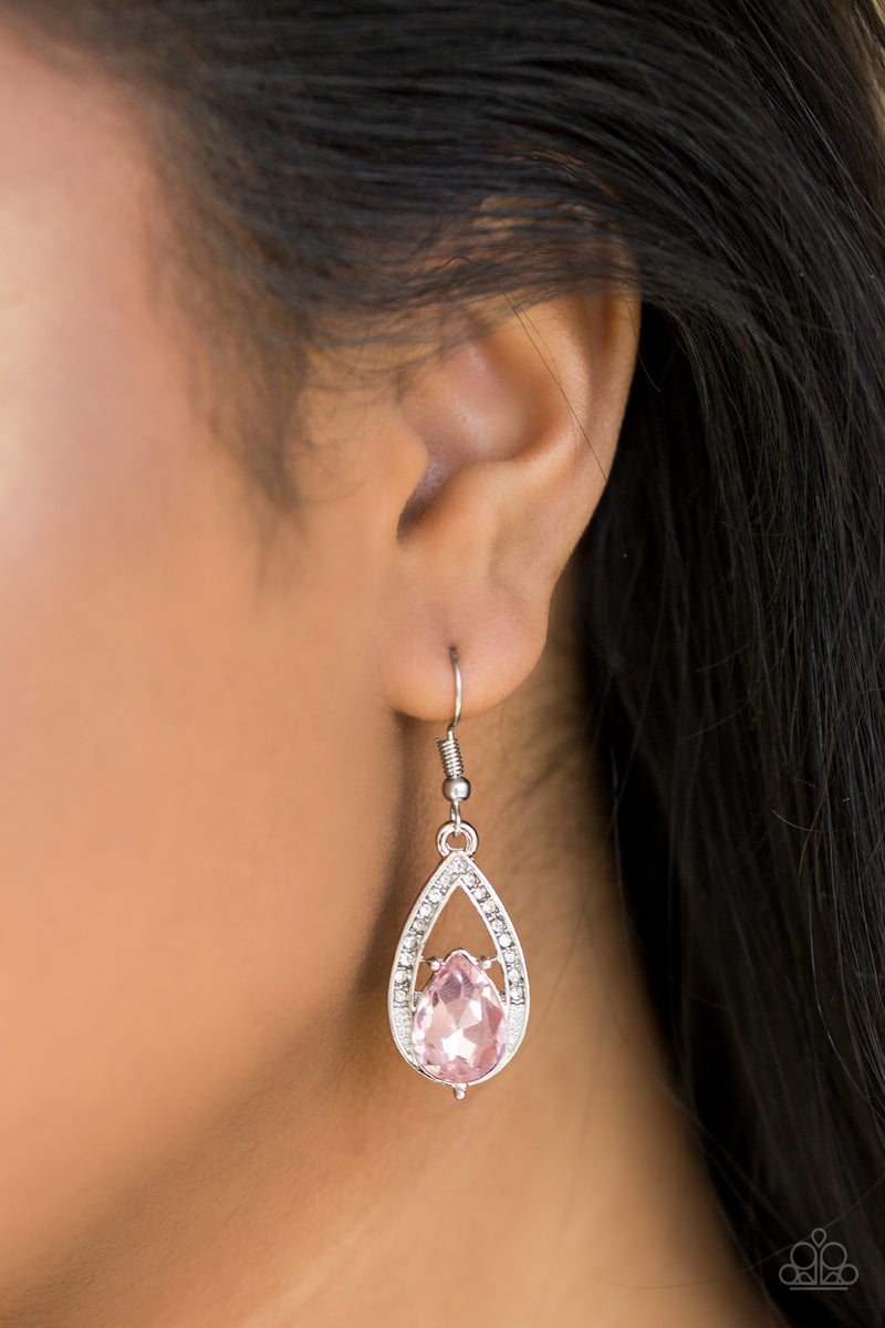 Gatsby Grandeur - Pink Earrings - Paparazzi Accessories