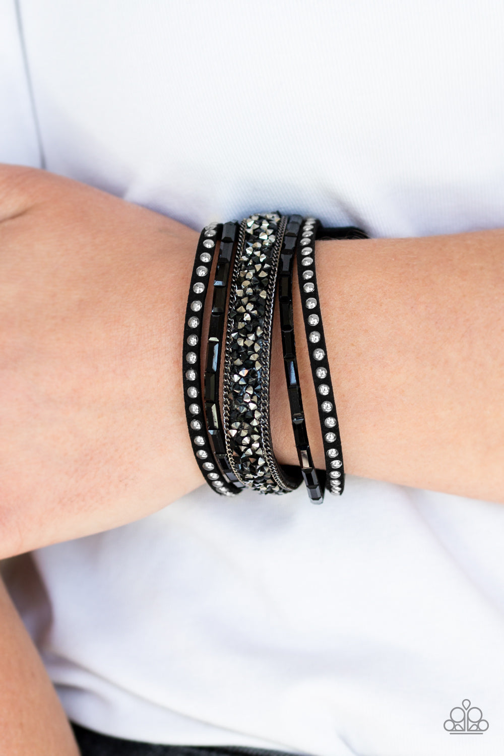 Rhinestone Rocker - Black Bracelet - Paparazzi Accessories