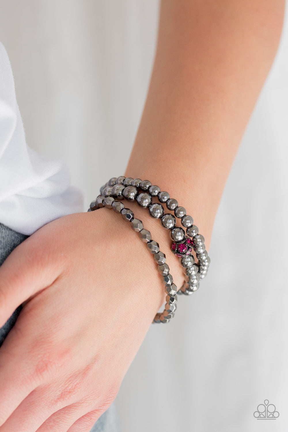 Noticeably Noir - Pink Bracelet - Paparazzi Accessories