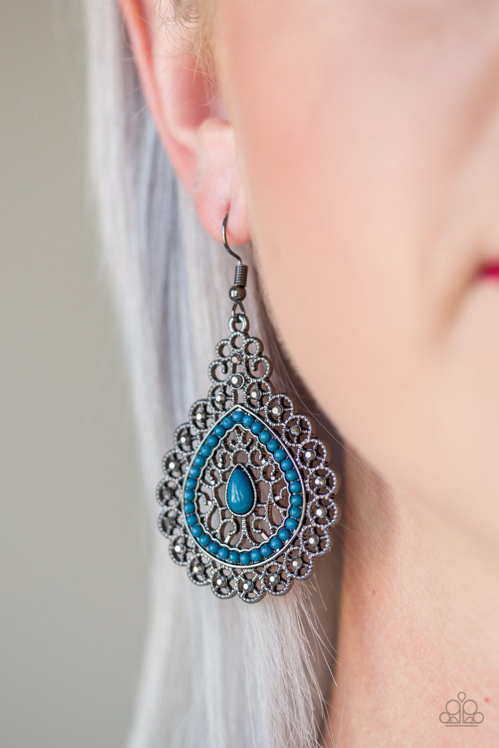 Carnival Courtesan - Blue Earrings - Paparazzi Accessories