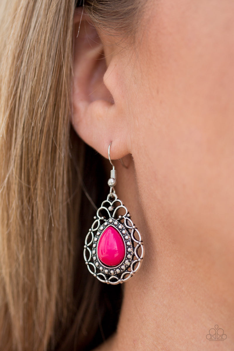 Flirty Finesse - Pink Earrings - Paparazzi Accessories